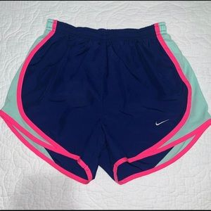 blue, mint blue and hot pink shorts
